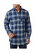 Backpacker BP7001 Mens Flannel Long Sleeve Button Down Shirt w/ Double Pockets Blue/Green Front
