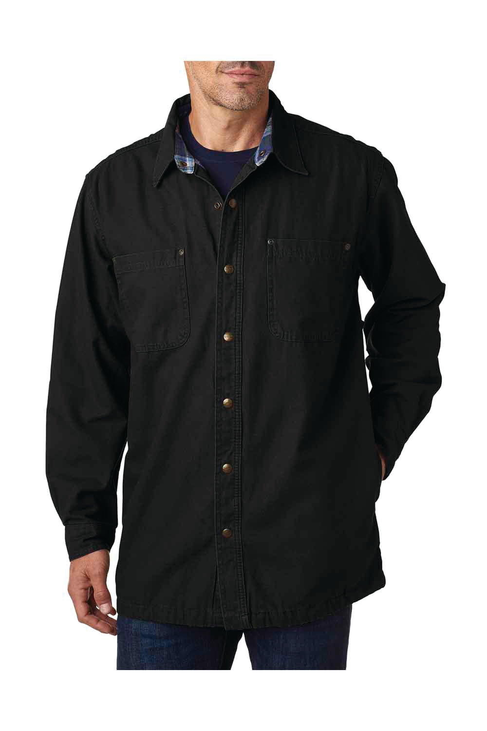 Backpacker BP7006 Mens Canvas Button Down Shirt Jacket Black Front