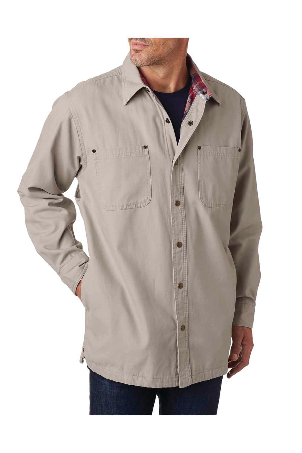 Backpacker BP7006 Mens Canvas Button Down Shirt Jacket Stone Brown Front