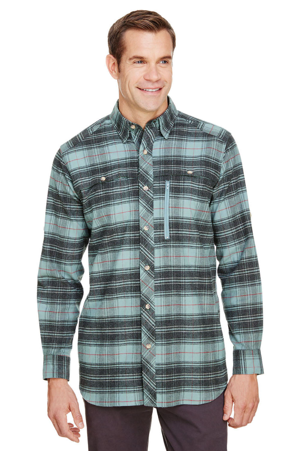 Backpacker BP7091 Mens Stretch Flannel Long Sleeve Button Down Shirt w/ Double Pockets Teal Blue Front