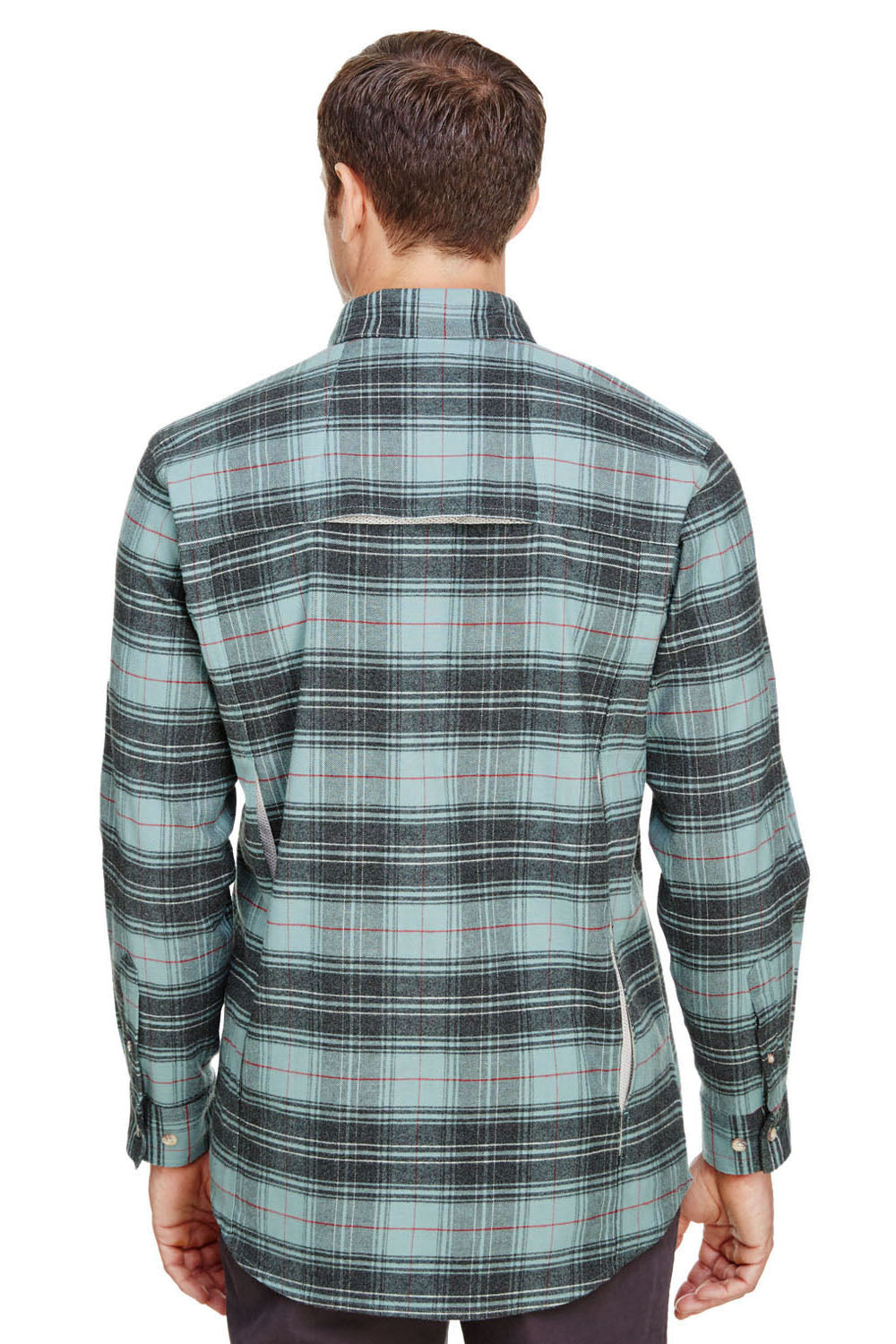 Backpacker BP7091 Mens Stretch Flannel Long Sleeve Button Down Shirt w/ Double Pockets Teal Blue Back