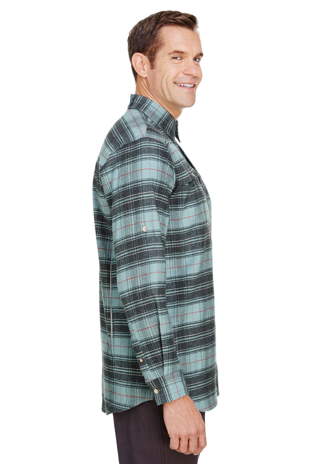 Backpacker BP7091 Mens Stretch Flannel Long Sleeve Button Down Shirt w/ Double Pockets Teal Blue Side