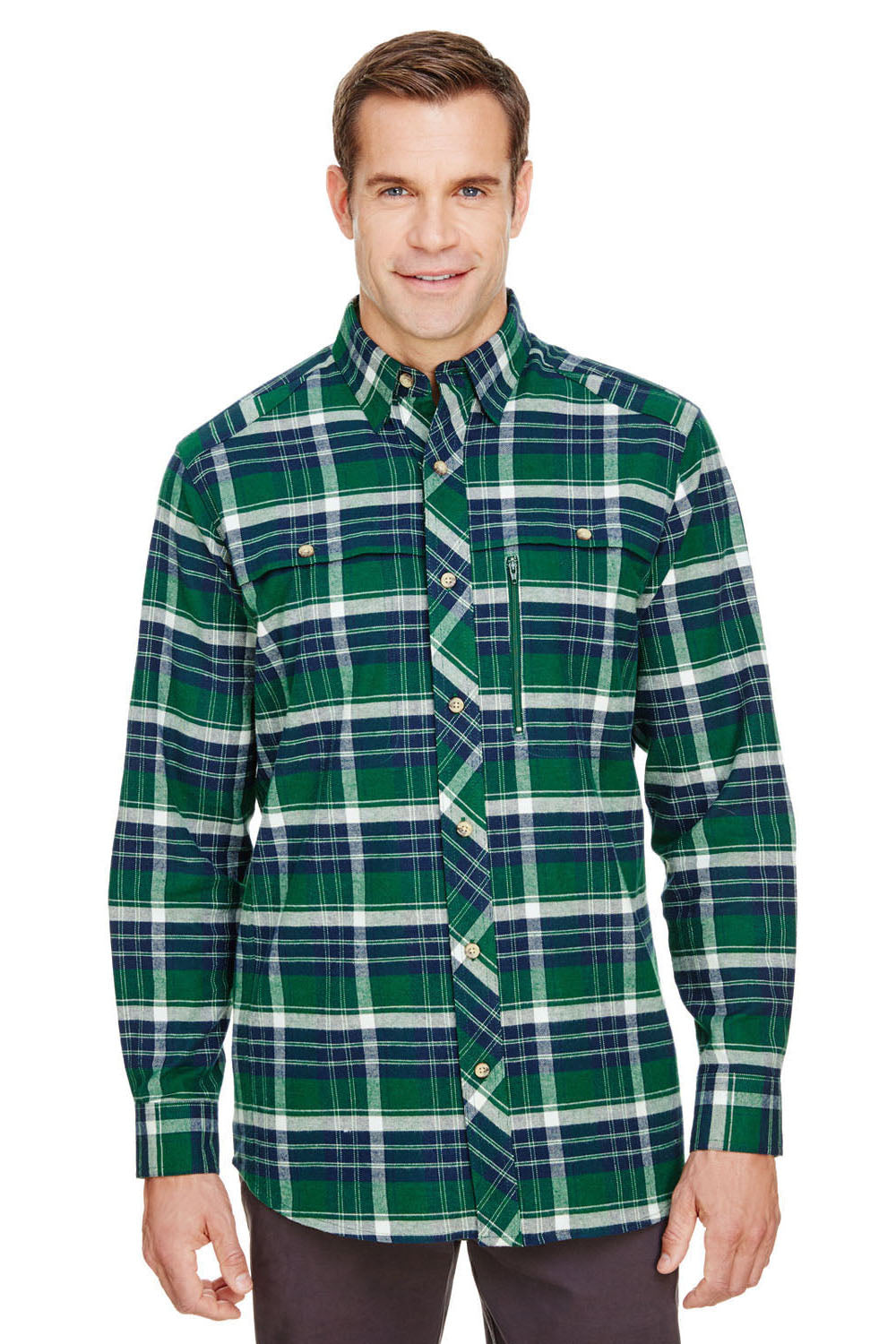 Backpacker BP7091 Mens Stretch Flannel Long Sleeve Button Down Shirt w/ Double Pockets Forest Green Front