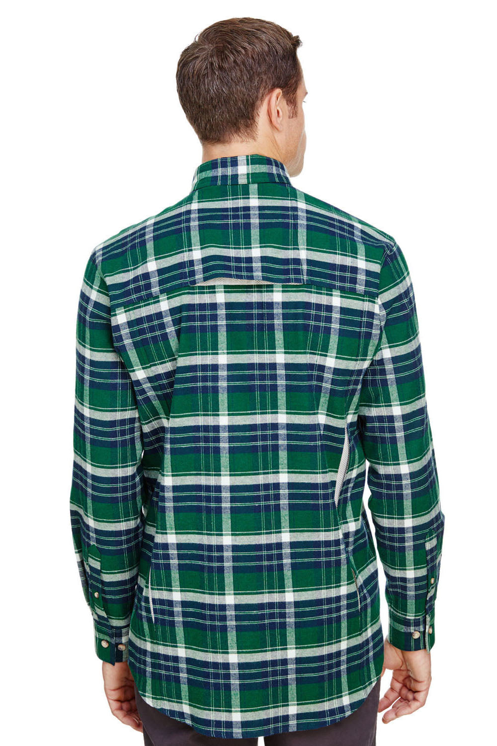 Backpacker BP7091 Mens Stretch Flannel Long Sleeve Button Down Shirt w/ Double Pockets Forest Green Back