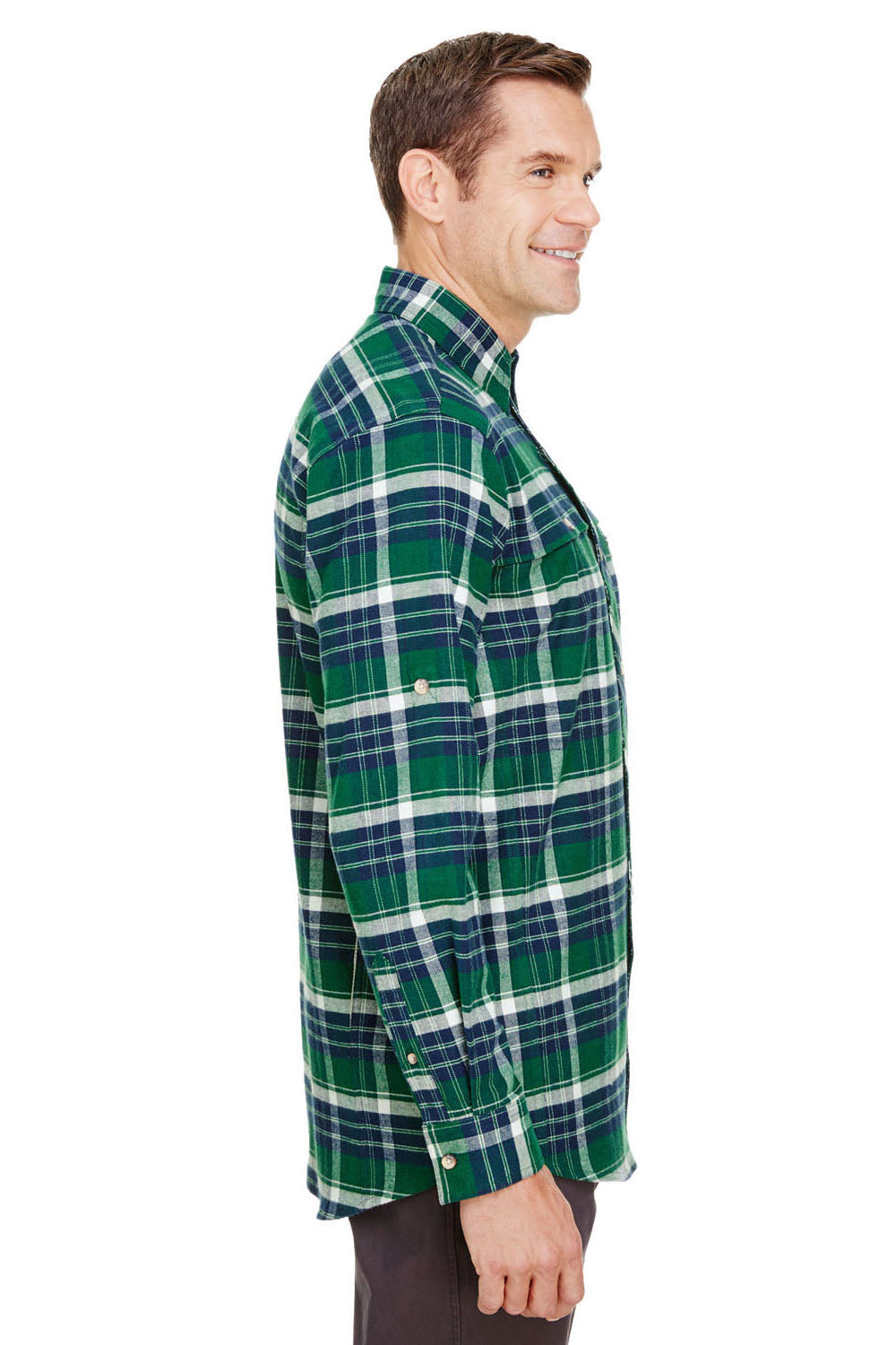 Backpacker BP7091 Mens Stretch Flannel Long Sleeve Button Down Shirt w/ Double Pockets Forest Green Side