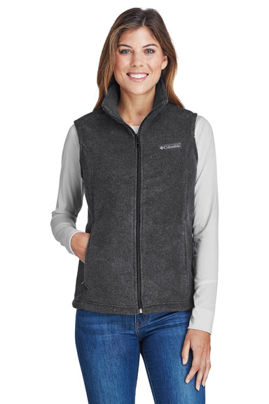 Columbia C1023 Womens Benton Springs Full Zip Fleece Vest Charcoal Grey Front