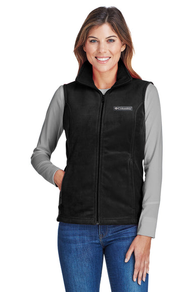 Columbia C1023 Womens Benton Springs Full Zip Fleece Vest Black Front