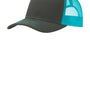 Port Authority Mens Adjustable Trucker Hat - Steel Grey/Neon Blue