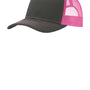 Port Authority Mens Adjustable Trucker Hat - Steel Grey/Neon Pink