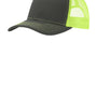 Port Authority Mens Adjustable Trucker Hat - Steel Grey/Neon Yellow
