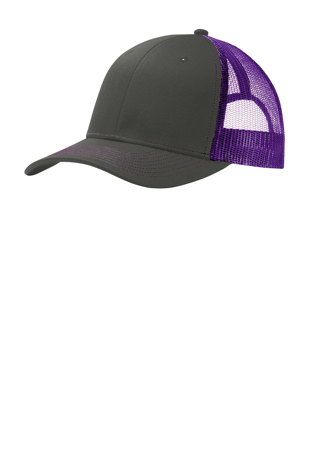 Port Authority C112 Mens Adjustable Trucker Hat Steel Grey/Purple Front