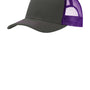 Port Authority Mens Adjustable Trucker Hat - Steel Grey/Purple
