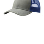 Port Authority Mens Adjustable Trucker Hat - Heather Grey/Patriot Blue