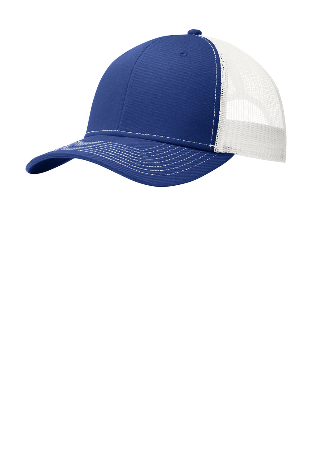 Port Authority C112 Mens Adjustable Trucker Hat Royal Blue/White Front