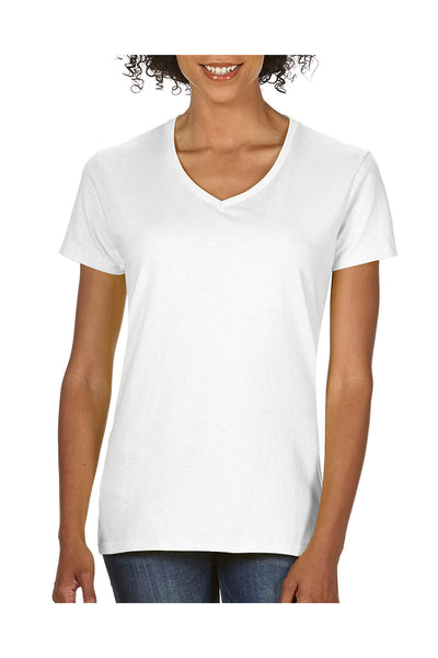 Comfort Colors C3199 Womens Short Sleeve V-Neck T-Shirt White Front