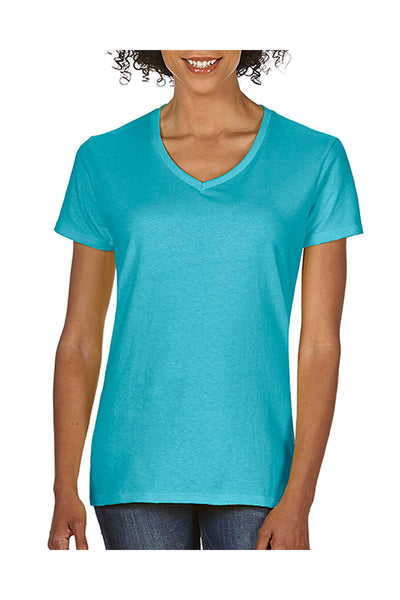 Comfort Colors C3199 Womens Short Sleeve V-Neck T-Shirt Lagoon Blue Front
