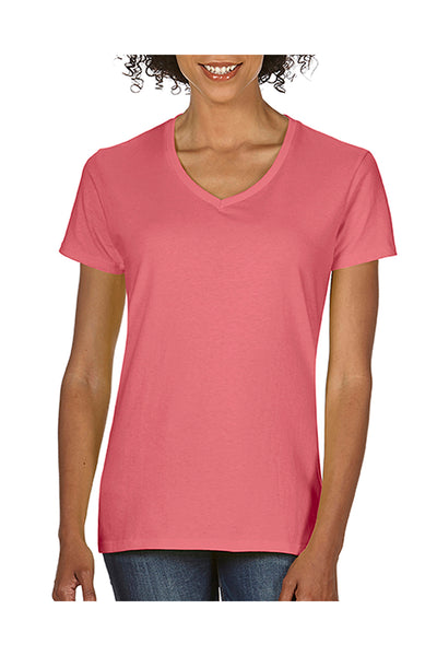 Comfort Colors C3199 Womens Short Sleeve V-Neck T-Shirt Watermelon Pink Front