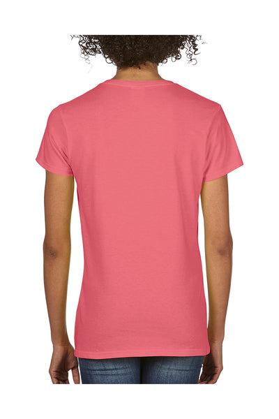 Comfort Colors C3199 Womens Short Sleeve V-Neck T-Shirt Watermelon Pink Back