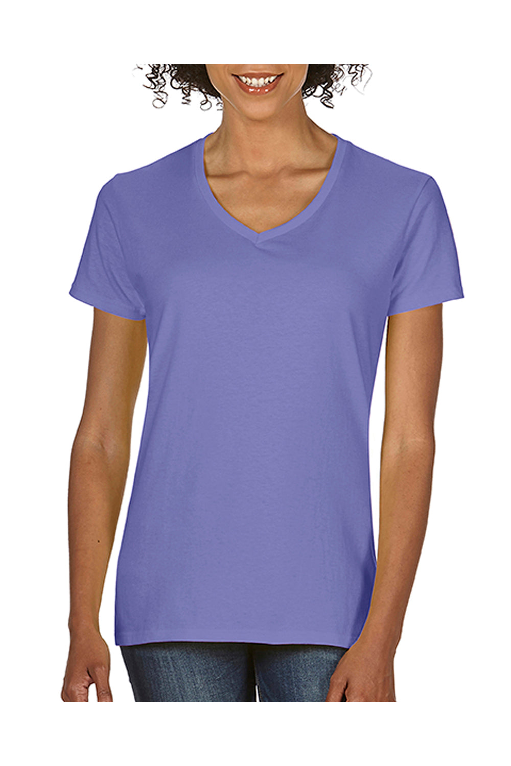Comfort Colors C3199 Womens Short Sleeve V-Neck T-Shirt Violet Purple Front