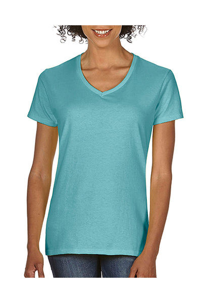 Comfort Colors C3199 Womens Short Sleeve V-Neck T-Shirt Chalky Mint Blue Front