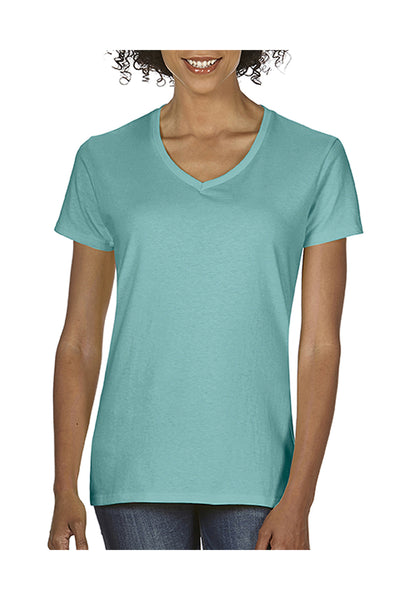 Comfort Colors C3199 Womens Short Sleeve V-Neck T-Shirt Island Reef Green Front