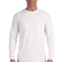 Comfort Colors Mens Long Sleeve Crewneck T-Shirt w/ Pocket - White