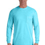 Comfort Colors Mens Long Sleeve Crewneck T-Shirt w/ Pocket - Lagoon Blue