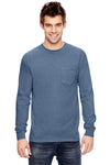 Comfort Colors C4410 Mens Long Sleeve Crewneck T-Shirt w/ Pocket Blue Jean Front