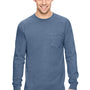 Comfort Colors Mens Long Sleeve Crewneck T-Shirt w/ Pocket - Blue Jean