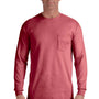 Comfort Colors Mens Long Sleeve Crewneck T-Shirt w/ Pocket - Crimson Red
