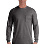 Comfort Colors Mens Long Sleeve Crewneck T-Shirt w/ Pocket - Pepper Grey