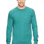 Comfort Colors Mens Long Sleeve Crewneck T-Shirt w/ Pocket - Seafoam Green