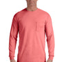 Comfort Colors Mens Long Sleeve Crewneck T-Shirt w/ Pocket - Watermelon Pink