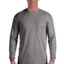 Comfort Colors Mens Long Sleeve Crewneck T-Shirt w/ Pocket - Grey