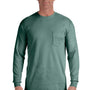 Comfort Colors Mens Long Sleeve Crewneck T-Shirt w/ Pocket - Light Green