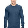 Comfort Colors Mens Long Sleeve Crewneck T-Shirt w/ Pocket - True Navy Blue