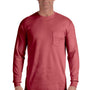 Comfort Colors Mens Long Sleeve Crewneck T-Shirt w/ Pocket - Brick Red