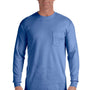 Comfort Colors Mens Long Sleeve Crewneck T-Shirt w/ Pocket - Flo Blue