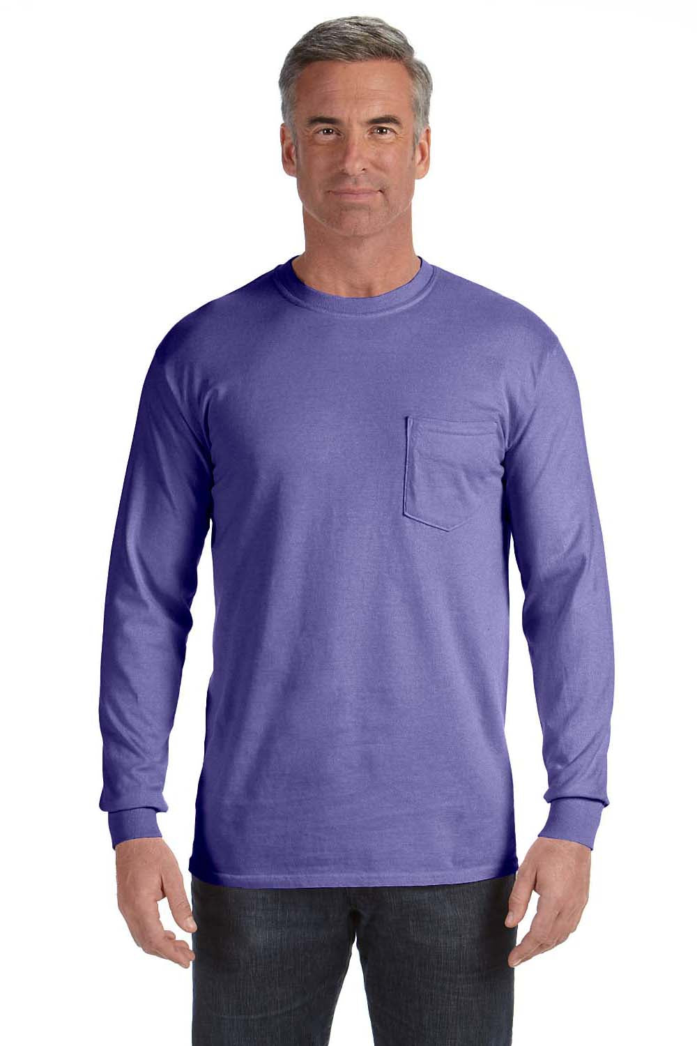 Comfort Colors C4410 Mens Long Sleeve Crewneck T-Shirt w/ Pocket Violet Purple Front
