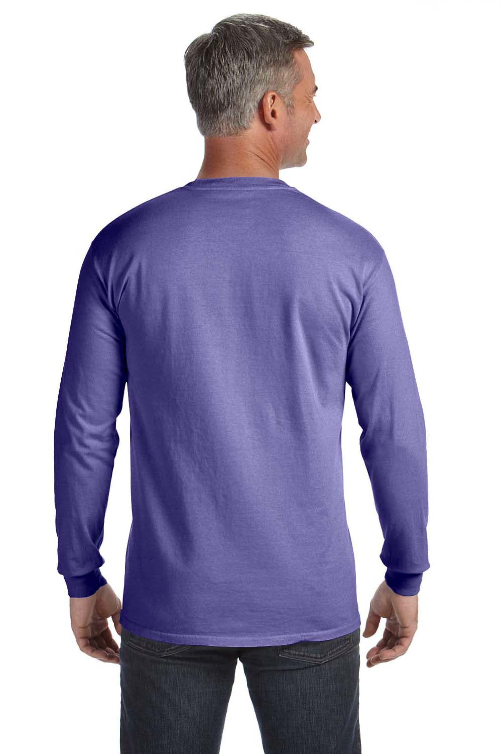 Comfort Colors C4410 Mens Long Sleeve Crewneck T-Shirt w/ Pocket Violet Purple Back
