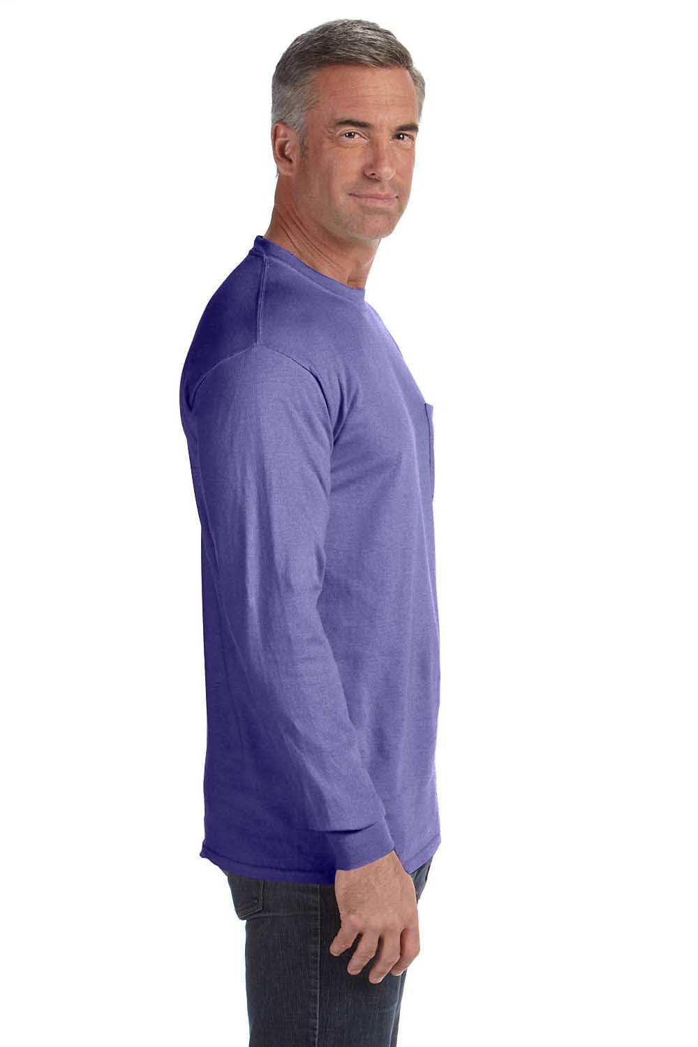 Comfort Colors C4410 Mens Long Sleeve Crewneck T-Shirt w/ Pocket Violet Purple Side