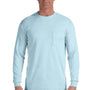 Comfort Colors Mens Long Sleeve Crewneck T-Shirt w/ Pocket - Chambray Blue