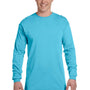 Comfort Colors Mens Long Sleeve Crewneck T-Shirt - Lagoon Blue