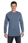 Comfort Colors C6014 Mens Long Sleeve Crewneck T-Shirt Blue Jean Front