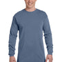 Comfort Colors Mens Long Sleeve Crewneck T-Shirt - Blue Jean