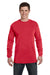 Comfort Colors C6014 Mens Long Sleeve Crewneck T-Shirt Paprika Red Front