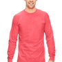 Comfort Colors Mens Long Sleeve Crewneck T-Shirt - Neon Red Orange