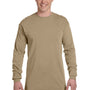 Comfort Colors Mens Long Sleeve Crewneck T-Shirt - Khaki
