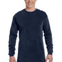 Comfort Colors Mens Long Sleeve Crewneck T-Shirt - Navy Blue