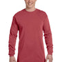 Comfort Colors Mens Long Sleeve Crewneck T-Shirt - Brick Red